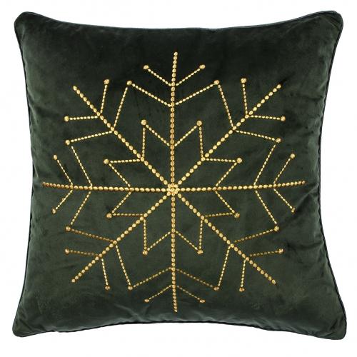 Kissen Schneeflocke in edlem Dunkelgrün mit goldener Stickerei von pad, abnehmbarer Bezug