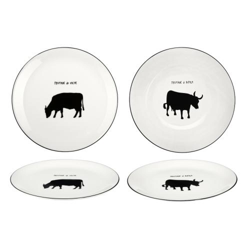 Käseteller im 2er Set mit Büffel u. Kuh Design D 21 cm von Asa Selection