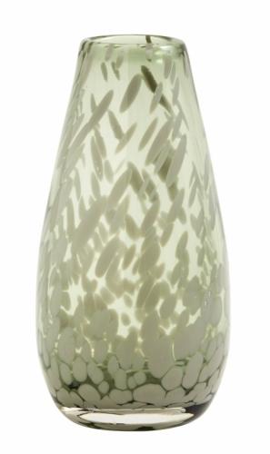 Vase Deco clear, Farbe Grün, von Nordal H 17cm Fleckenmuster Handarbeit Glas