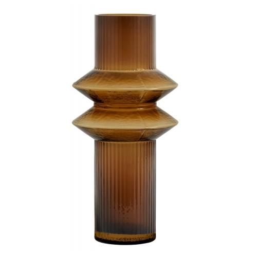 Vase Rilla M Amber von Nordal H 32 cm Rillenmuster Amber Braun Handarbeit Glas
