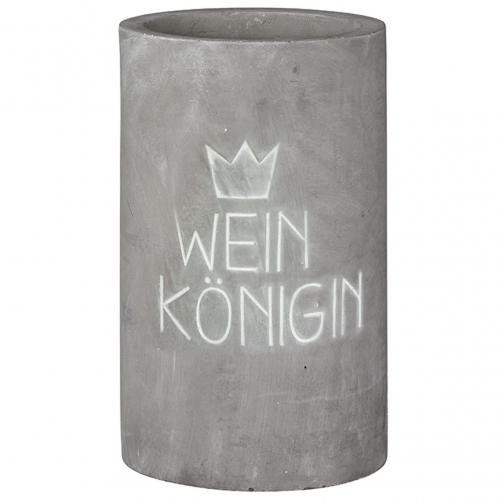 """Weinkühler aus Beton mit schicker Prägung """"Weinkönigin / Weinkönig"""""""