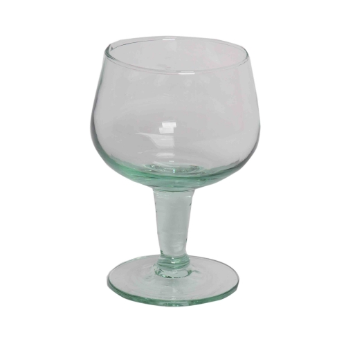 Trinkglas Vinito auf kurzem Fuß kleines Weinglas aus Recycling Glas 17x11 cm