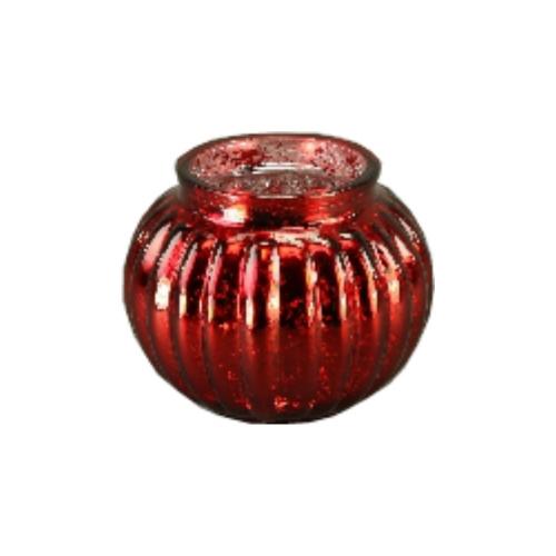 Kugelwindlicht in Rot mit Rillenmuster 13,5 cm