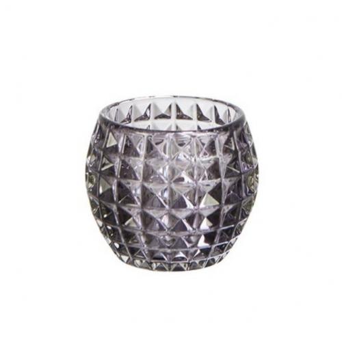 ANJA Teelichthalter mit Kristallglasmuster grau