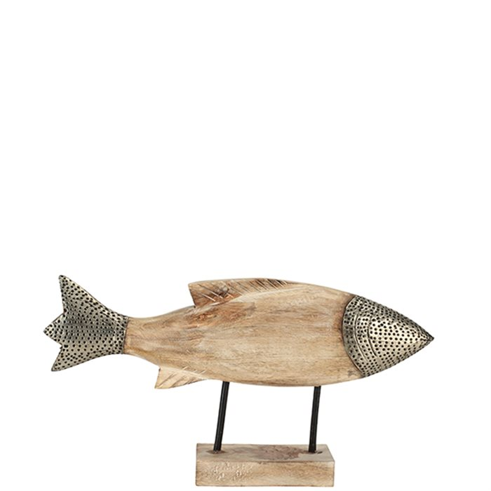 fisch statue auf st nder holz und metall 40 cm deko fisch. Black Bedroom Furniture Sets. Home Design Ideas