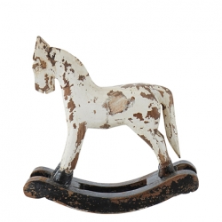 Schaukelpferd Troja Deko-Holzfigur weiß 17x5x18 cm