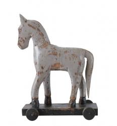 Schaukelpferd auf Rollen Troja Deko-Holzfigur grau 21x10x28 cm