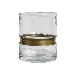 Glas Kleine Vase glasklar mit Messingring 11 cm von Nordal