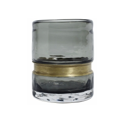 Glas Kleine Vase rauchgrau mit Messingring 10 cm von Nordal