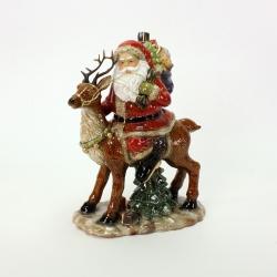 Weihnachtsmann Figur Santa auf Hirsch 37 cm