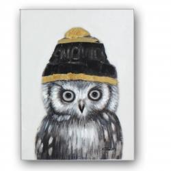 Bild Eule mit Mütze handgemalt Acryl auf Leinwand 30x40 cm