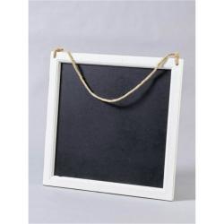 Tafel aus Holz weiß mit Kordel zum Aufhängen 45x45 cm