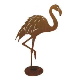 Gartenfigur Flamingo mit Bein oben Edelrost 91x99 cm