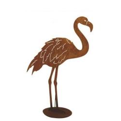 Gartenfigur Flamingo mit Bein unten Edelrost 91x99 cm