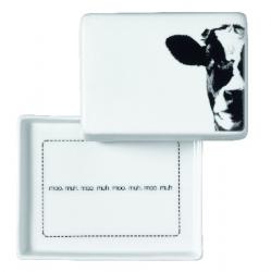Kleine Butterdose aus Porzellan mit Kuh Design 10,5x8,5x6 cm für ein halbes Stück Butter (125g)