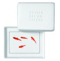 Kleine Butterdose aus Porzellan mit Fisch Design Butter bei die Fische 10,5x8,5x6 cm
