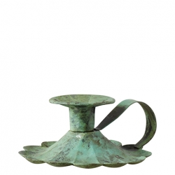Kerzenständer Nostalgie mit Haltegriff antik-grün 13x11x5 cm Metall