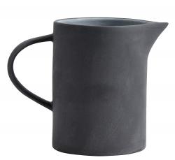 Steingut Wasserkrug 1 Liter anthrazit mit hellgrau von NORDAL Krug Pitcher