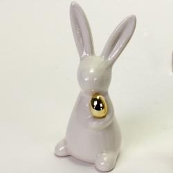 Weißer Hase mit goldenem Ei Porzellan Figur Ostern
