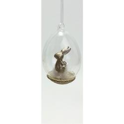Osterei aus Glas mit Hasenfigur Anhänger Glasanhänger