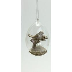 Osterei aus Glas mit Vogel-Figur Anhänger Glasanhänger