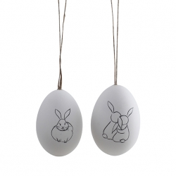 Ostereier 2 Weiße Hühnereier mit Hasen bemalt zwei Hasenmotive