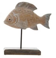 Fisch-Statue auf Ständer 20x18x5,5 cm schöner dicker Fisch in Holzoptik