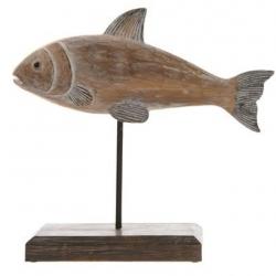 Fisch-Statue auf Ständer 19x20x6 cm schöner Fisch in Holzoptik