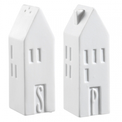 Salz & Pfeffer-Set Häuser von Räder Design weiß 3 x 3 x 9 cm