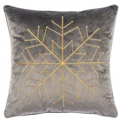 Kissen Schneeflocke in edlem Taupe Grau mit goldener Stickerei von pad, abnehmbarer Bezug