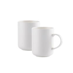 2 Kaffeetassen 18 cl im Set Keramik von WALRA, weiß