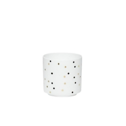 Windlicht aus feinem Porzellan weiß mit goldenen Punkten von Hübsch 7x7 cm