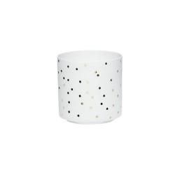 Windlicht aus feinem Porzellan weiß mit goldenen Punkten von Hübsch 9x9 cm