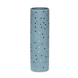 Vase aus feinem Porzellan in Blau mit goldenen Punkten von Hübsch 21 cm