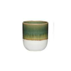 Becher in 2 Farben mit Aquarell-Farbverlauf von Hübsch Kaffeebecher Grün-Weiß