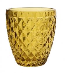 Trinkglas Retro-Form gold-gelb im Kristall-Look von NORDAL amber