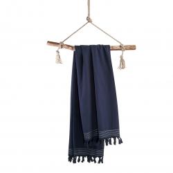 Hammamtuch Soft Cotton von Walra mit Fransen 100x180 cm Navy Blau; Dunkelblau