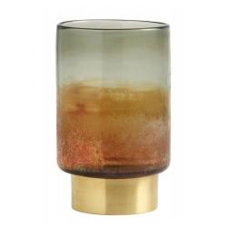 Multicolor Glas-Laterne mit Messingfuß Kerzenständer von Nordal H 20 cm