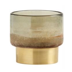 Multicolor Glas-Laterne mit Messingfuß Kerzenständer von Nordal H 10 cm