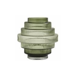 Vase Rill S Grün von Nordal H 16 cm Rillenmuster Grün Handarbeit Glas