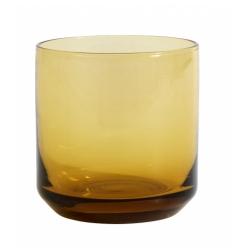 Retro Trinkglas von NORDAL klare Form Farbe Amber Gelb