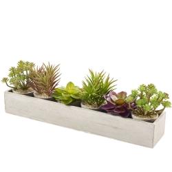 Sukkulenten im Topf mit Holzbox künstliche Tischblume H 9-14 cm künstliche Kakteenart