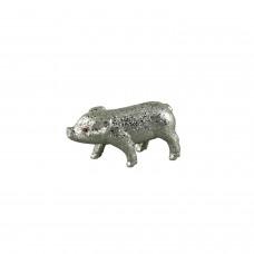 Glitzer Schweinchen Silber Klein - zauberhafte Dekofigur Schwein in silbernem Glitzer