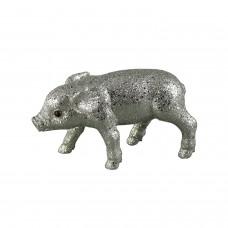 Glitzer Schweinchen Silber Groß - zauberhafte Dekofigur Schwein in silbernem Glitzer