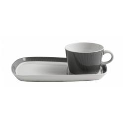 Becher mit Porzellan-Unterteller für Kaffee & Kuchen von NORDAL im Set, grau