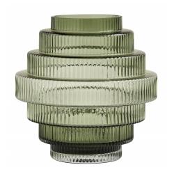 Vase Rill M Grün von Nordal H 24 cm Rillenmuster Grün Handarbeit Glas