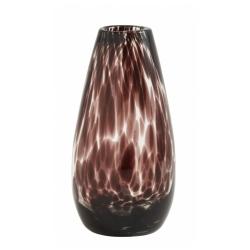 Vase Deco clear, Farbe Purpur Lila, von Nordal H 17cm Fleckenmuster Handarbeit Glas