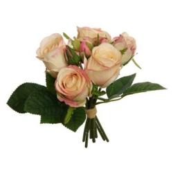 Kunstblume Rosen Strauß Pfirsich 5 Blüten 3 Knopsen rosa farbenfroh