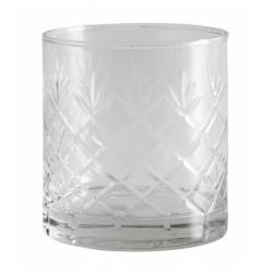 Trinkglas von NORDAL klare Form Ananas-Design Muster H 9 cm D 8 cm