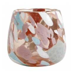 Windlicht pfirsichfarbenes Glas mit buntem Farbverlauf u. unebenem Rand von Nordal Handarbeit